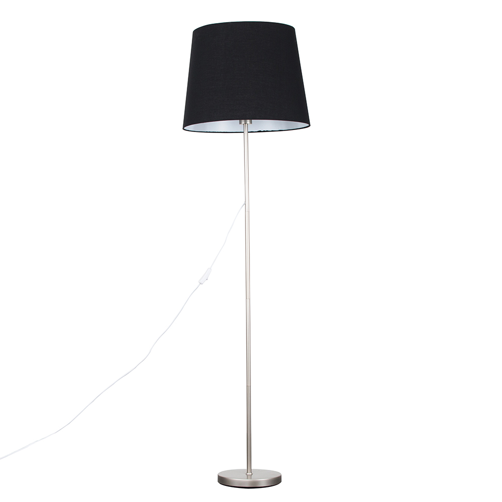 Charlie Brushed Chrome Floor Lamp with XL Black Aspen Shade