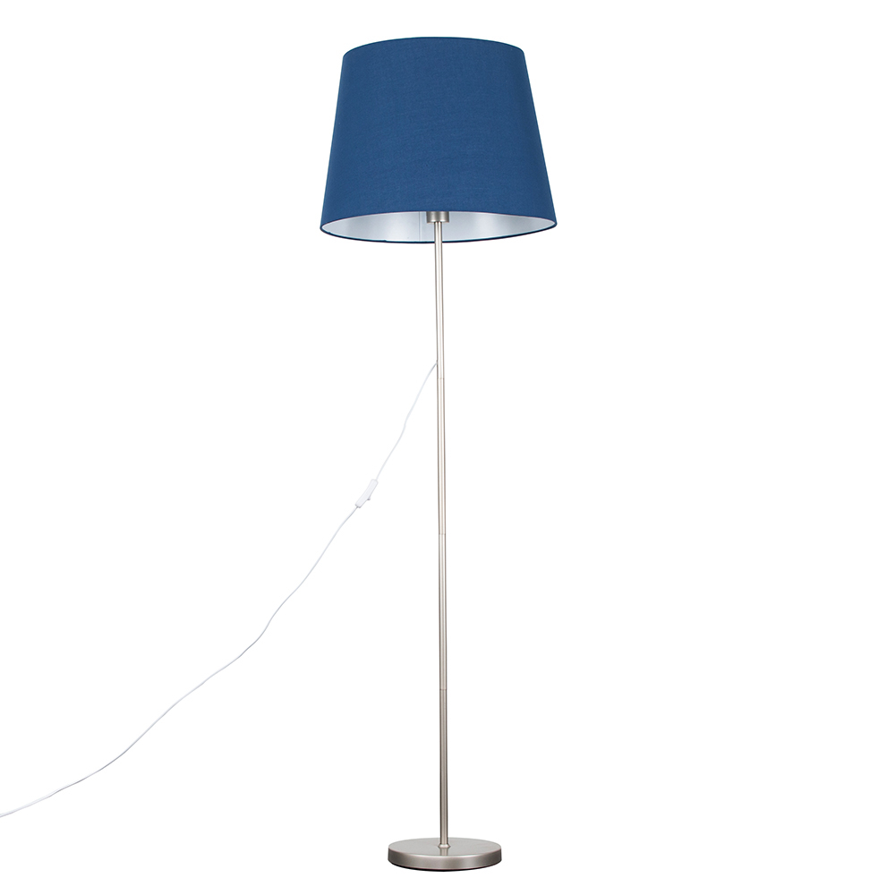 Charlie Brushed Chrome Floor Lamp with XL Navy Blue Aspen Shade