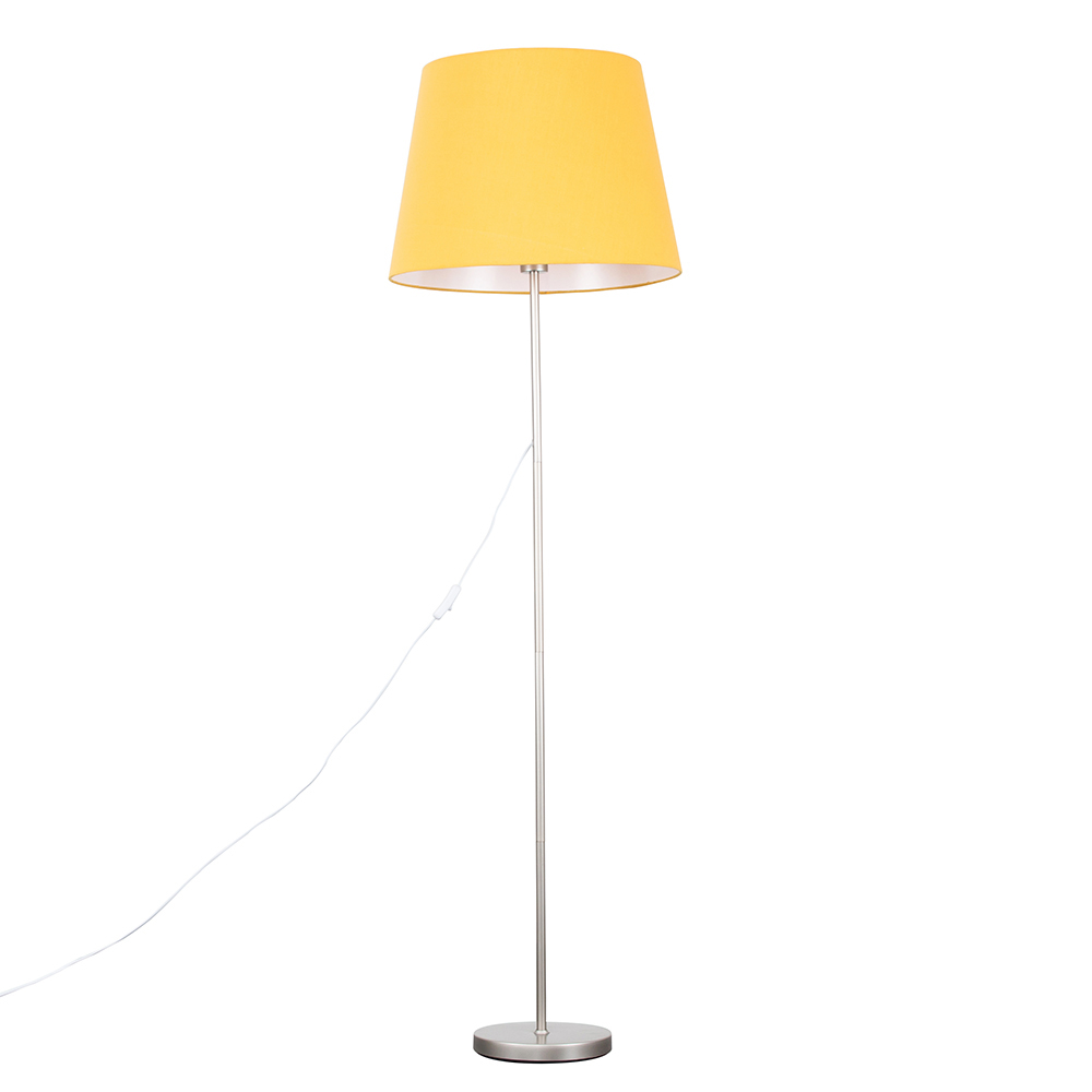 Charlie Brushed Chrome Floor Lamp with XL Mustard Aspen Shade