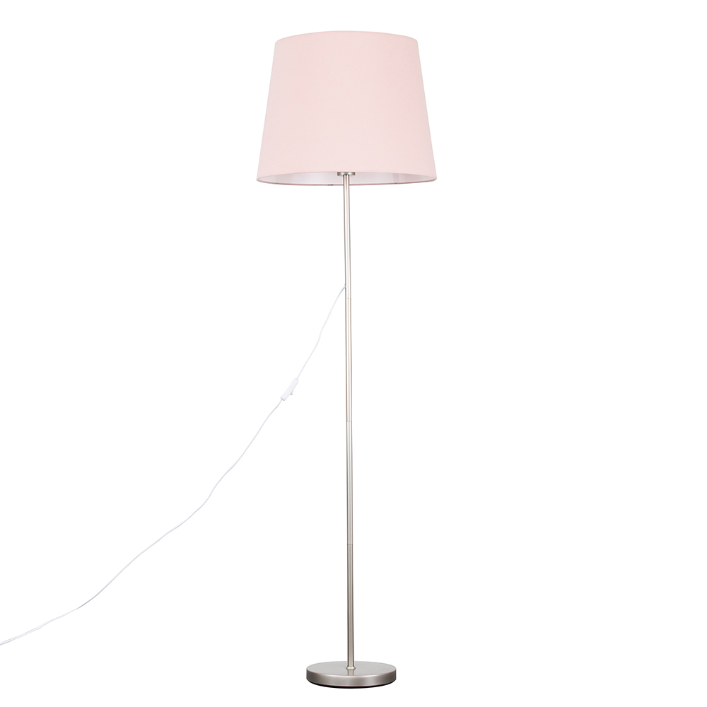 Charlie Brushed Chrome Floor Lamp with XL Dusty Pink Aspen Shade
