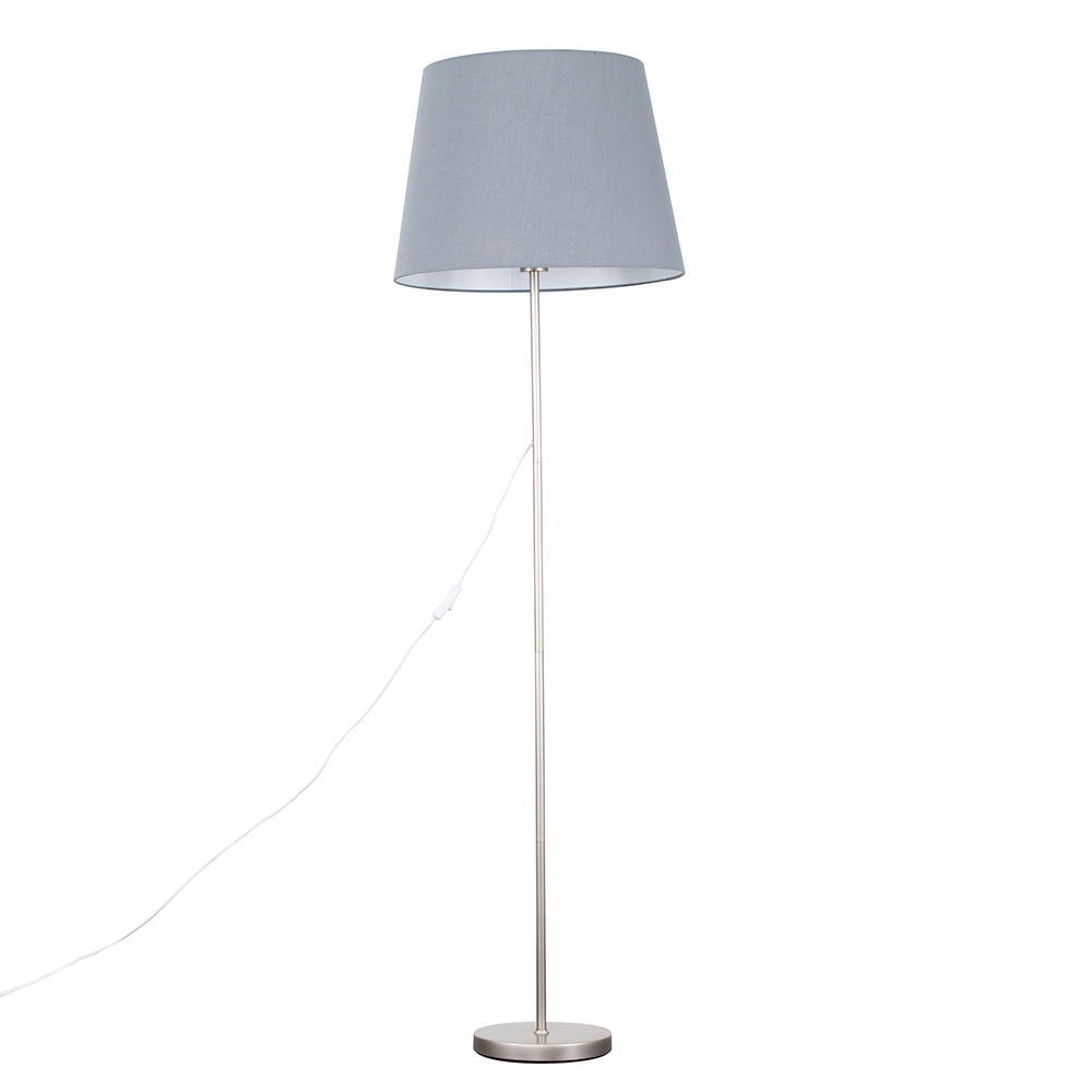 Charlie Brushed Chrome Floor Lamp with XL Grey Aspen Shade