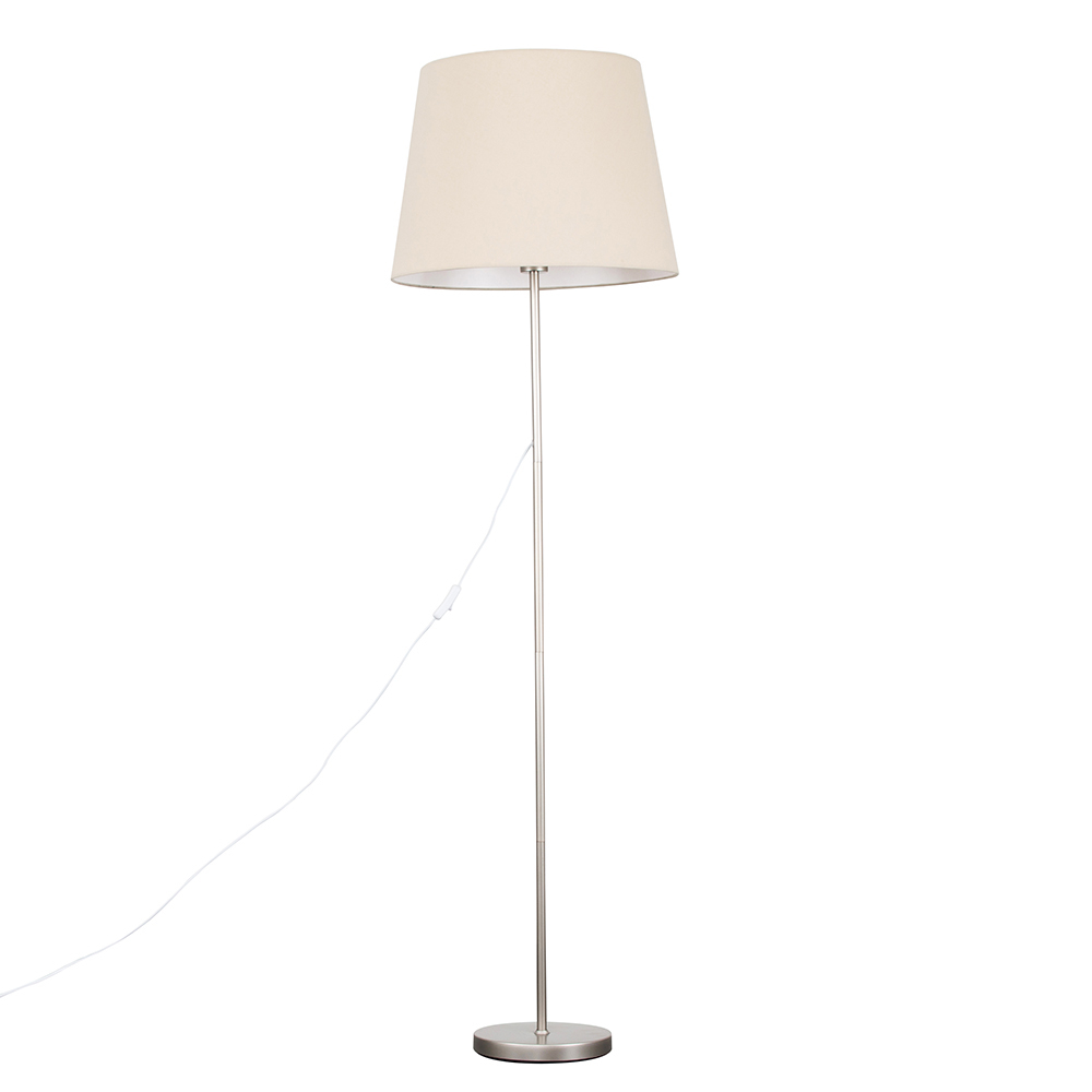 Charlie Brushed Chrome Floor Lamp with XL Beige Aspen Shade