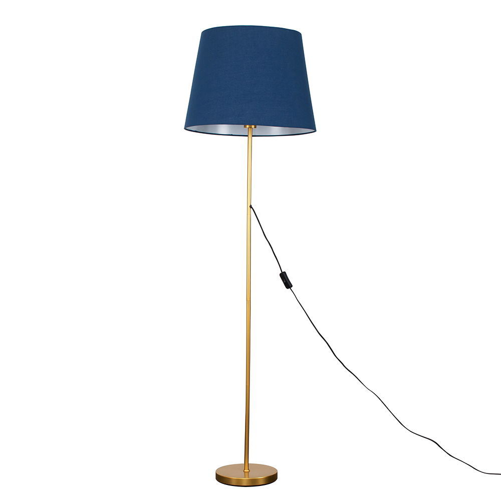 Charlie Gold Floor Lamp with XL Navy Blue Aspen Shade