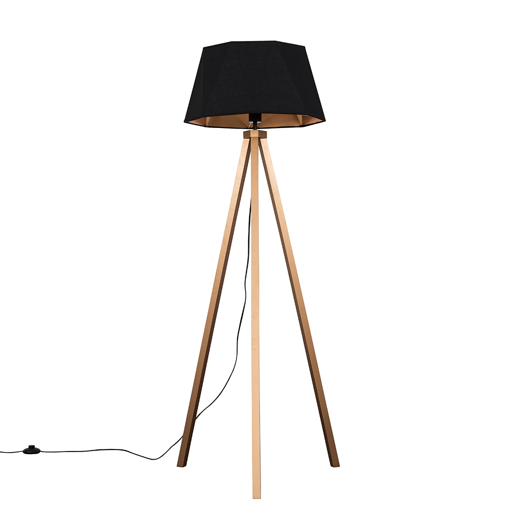Barbro Copper Tripod Floor Lamp With Black And Copper Shade