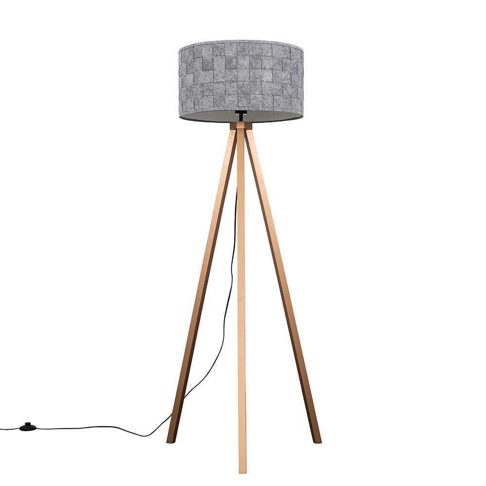 Barbro Copper Tripod Floor Lamp With XL Grey Felt Shade