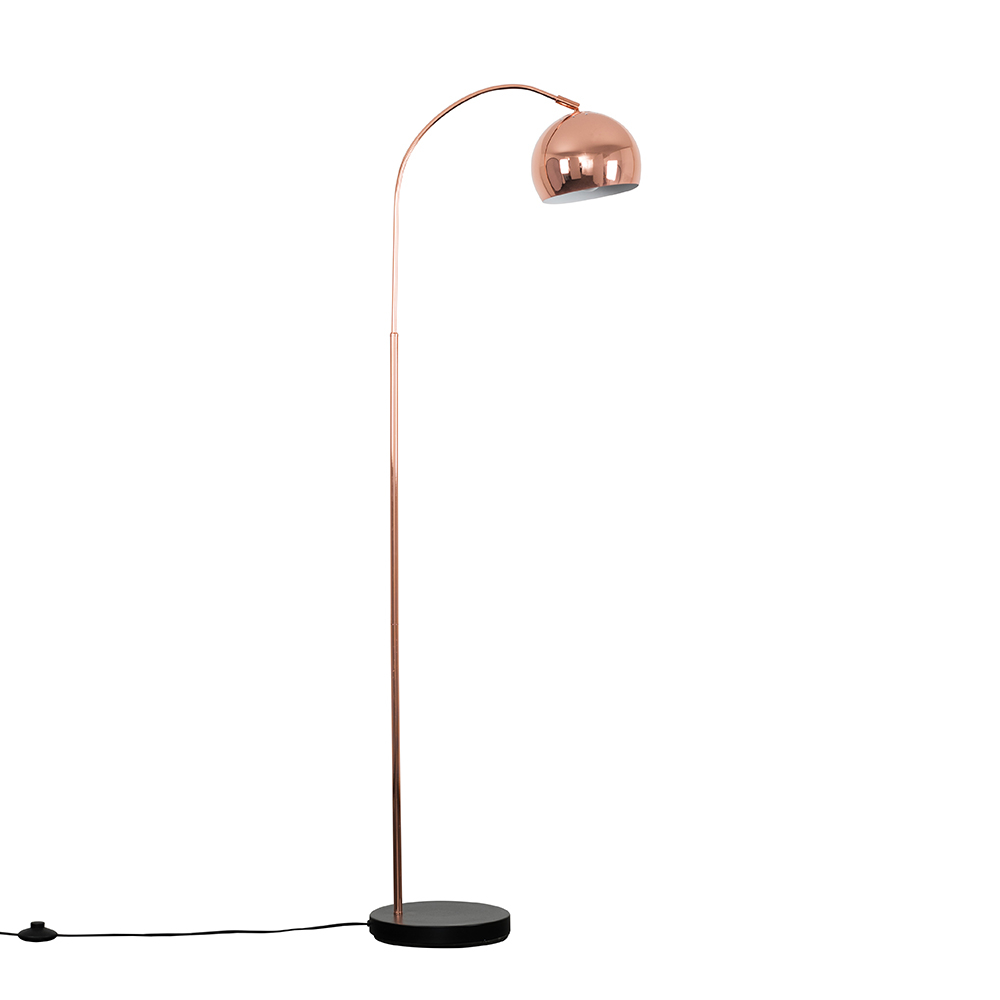 Curva Copper And Black Floor Lamp With Copper Arco Shade