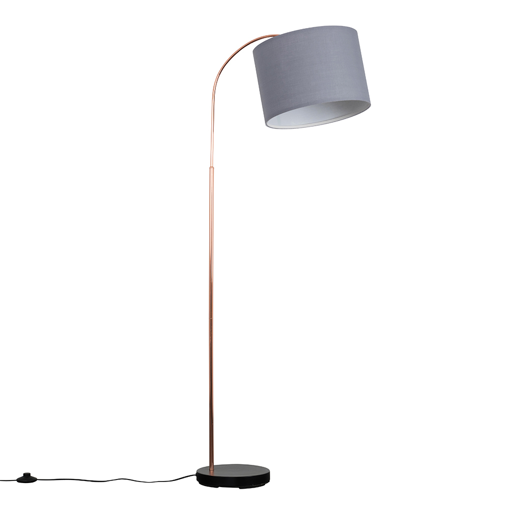 Curva Copper and Black Floor Lamp with Large Grey Reni Shade