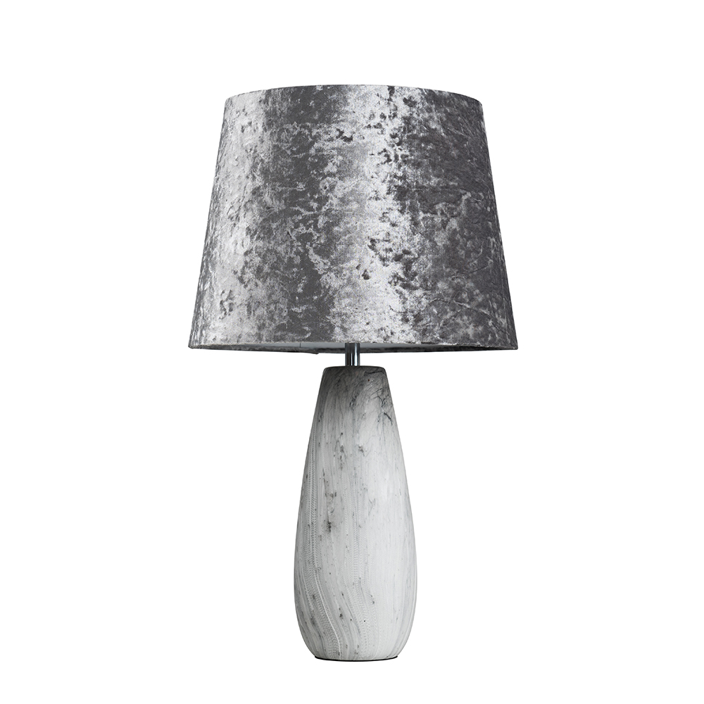 Torsten Marble Effect Table Lamp with Silver Grey Velvet Aspen Shade