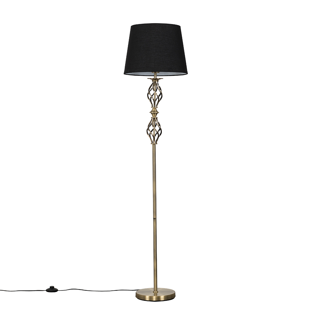 Pembroke Antique Brass Twist Floor Lamp with Black Aspen Shade