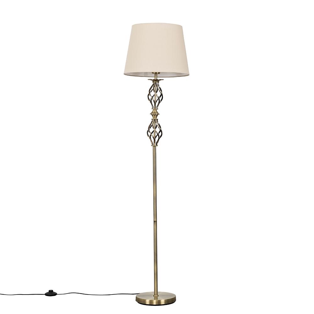 Pembroke Antique Brass Twist Floor Lamp with Beige Aspen Shade