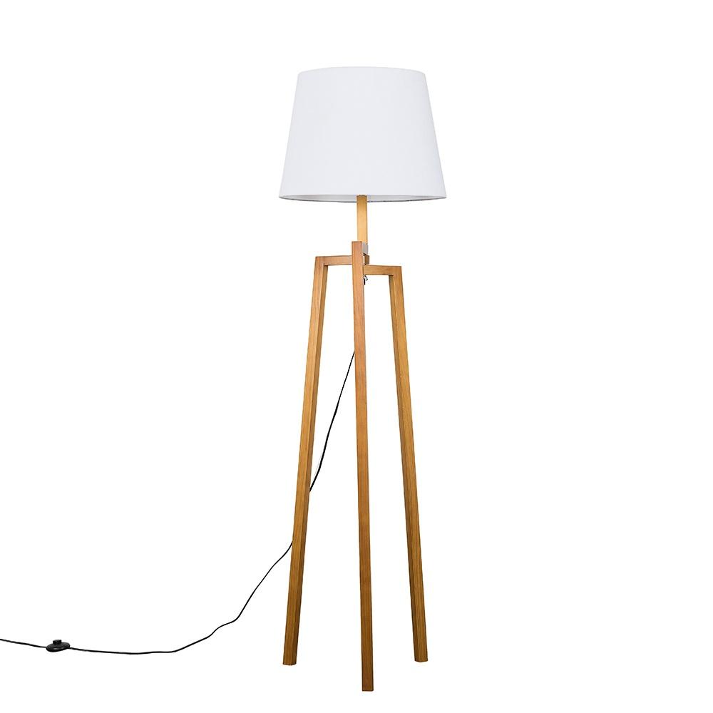 Augustus Light Wood Tripod Floor Lamp with XL White Aspen Shade