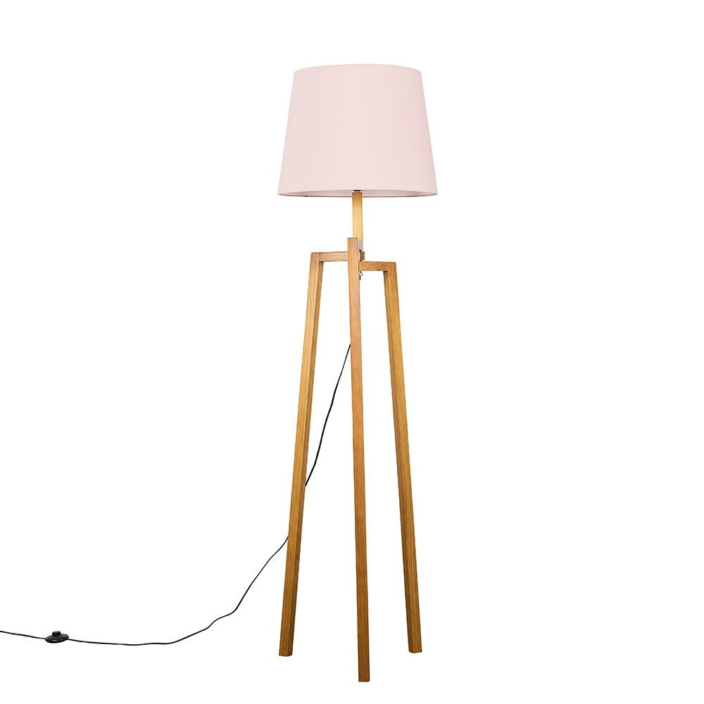 Augustus Light Wood Tripod Floor Lamp with XL Blush Pink Aspen Shade