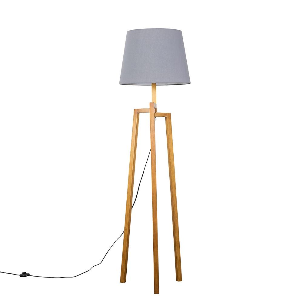 Augustus Light Wood Tripod Floor Lamp with XL Grey Aspen Shade