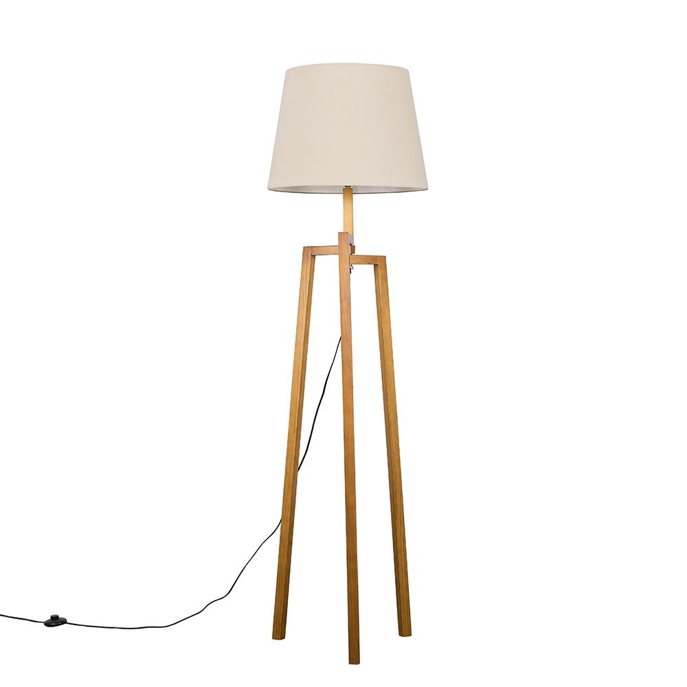 Augustus Light Wood Tripod Floor Lamp with XL Beige Aspen Shade