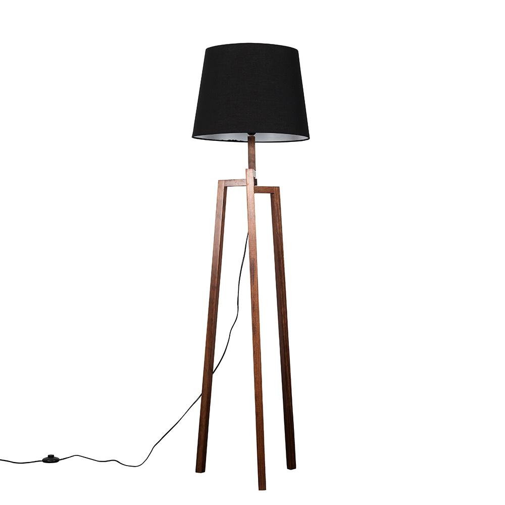 Augustus Dark Wood Tripod Floor Lamp with XL Black Aspen Shade