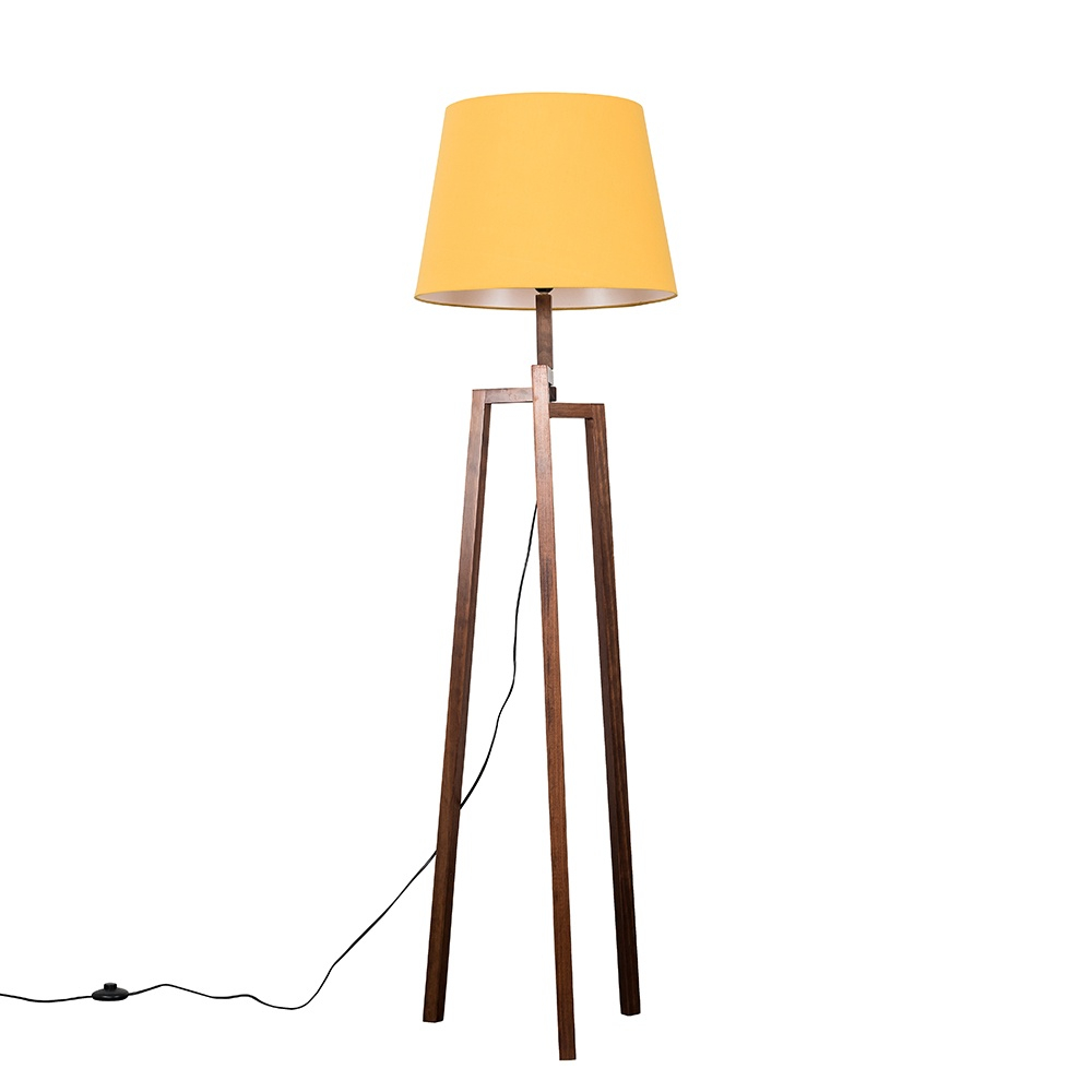 Augustus Dark Wood Tripod Floor Lamp with XL Mustard Aspen Shade