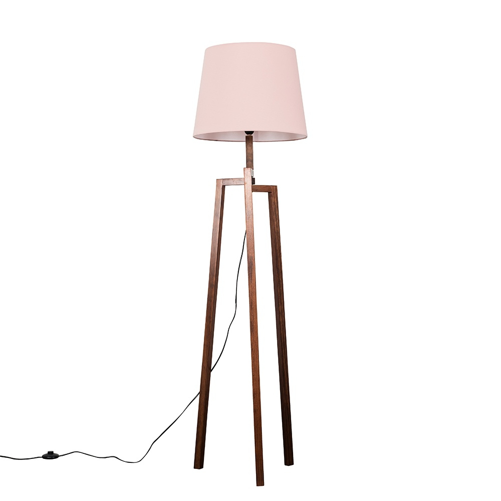 Augustus Dark Wood Tripod Floor Lamp with XL Blush Pink Aspen Shade