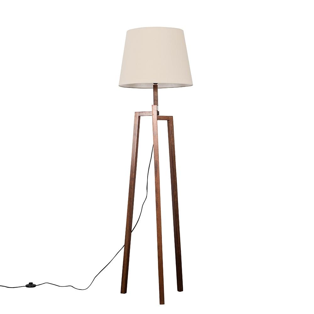 Augustus Dark Wood Tripod Floor Lamp with XL Beige Aspen Shade