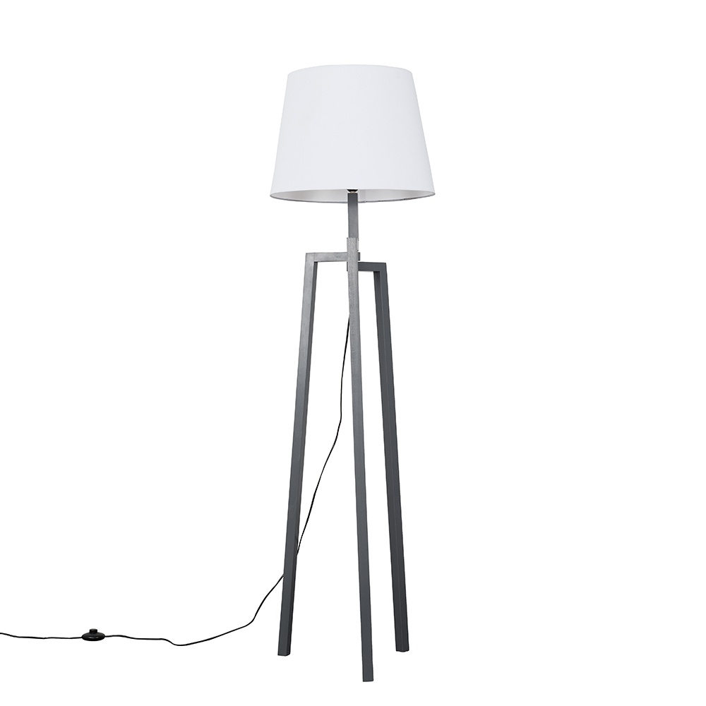 Augustus Grey Wood Tripod Floor Lamp with XL White Aspen Shade