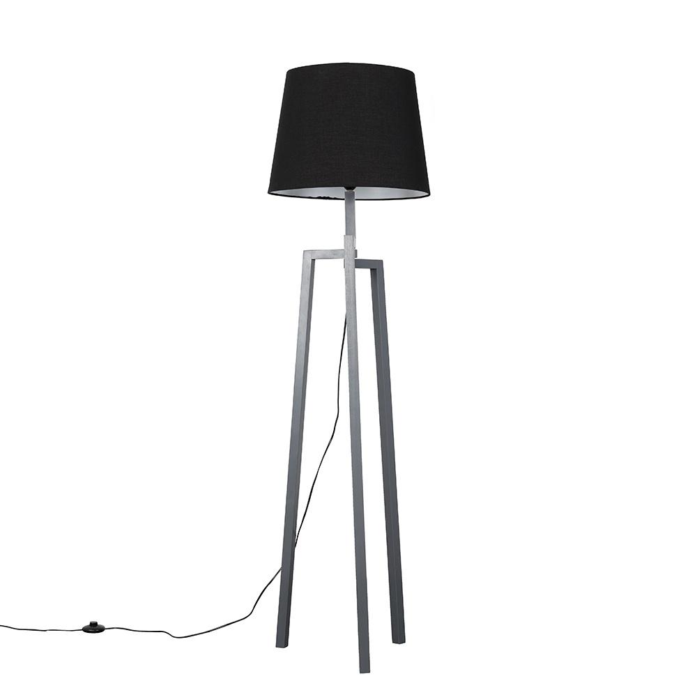 Augustus Grey Wood Tripod Floor Lamp with XL Black Aspen Shade