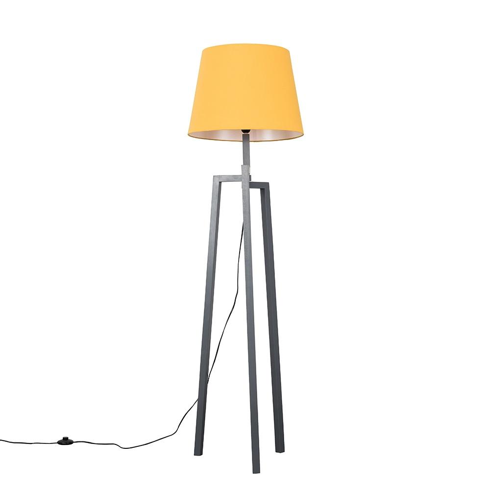 Augustus Grey Wood Tripod Floor Lamp with XL Mustard Aspen Shade