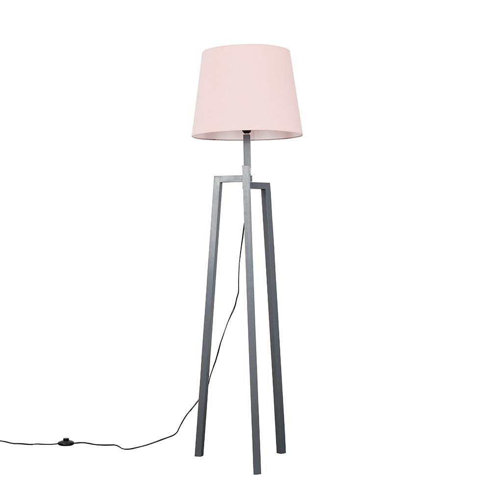 Augustus Grey Wood Tripod Floor Lamp with XL Blush Pink Aspen Shade