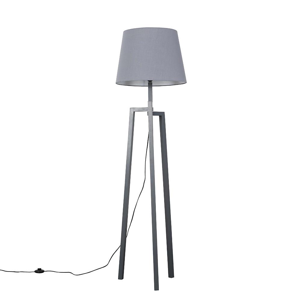 Augustus Grey Wood Tripod Floor Lamp with XL Grey Aspen Shade