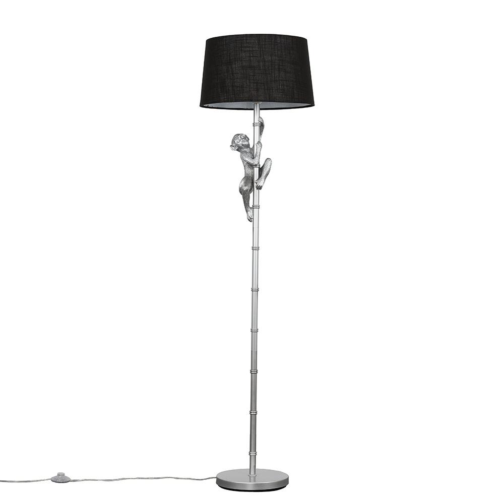 George Monkey Silver Floor Lamp with Black Doretta Shade