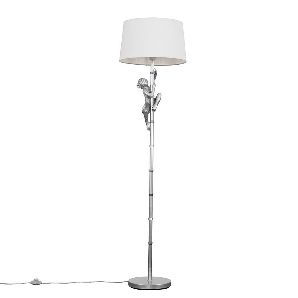 George Monkey Silver Floor Lamp with White Doretta Shade