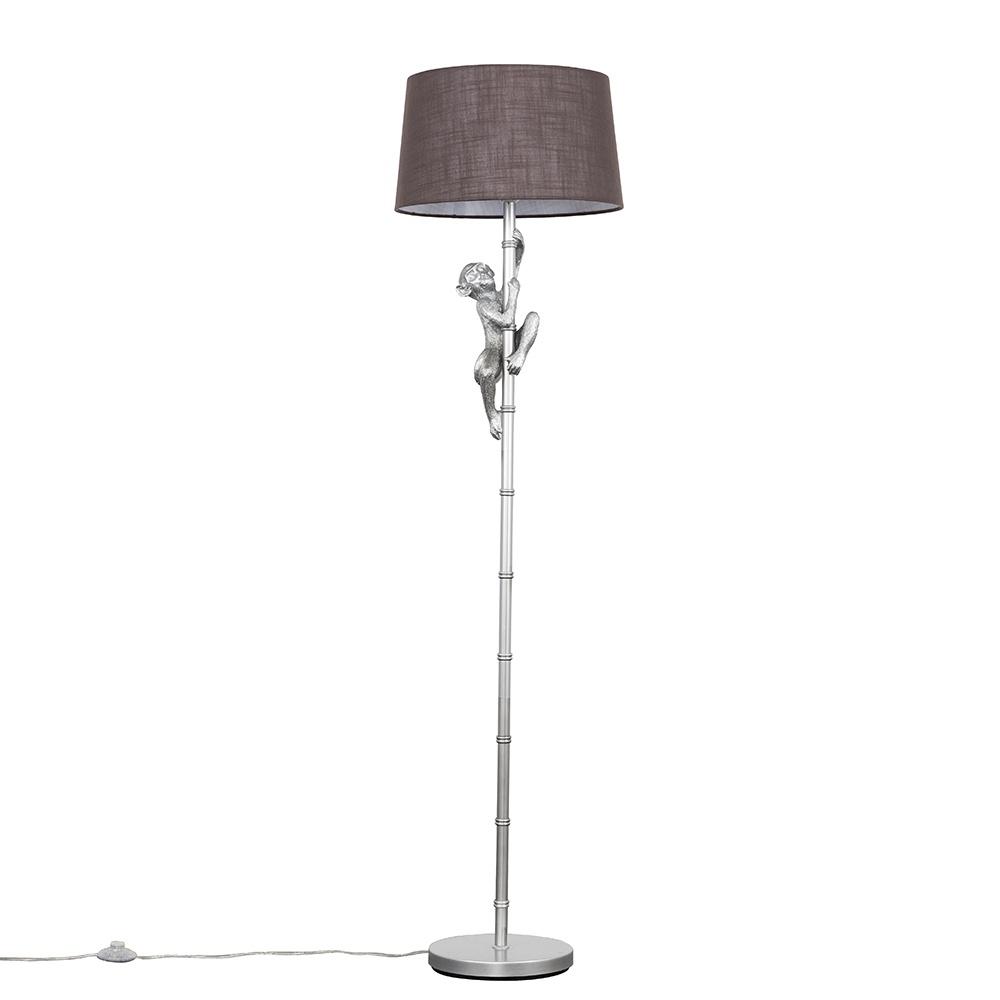 George Monkey Silver Floor Lamp with Dark Grey Doretta Shade