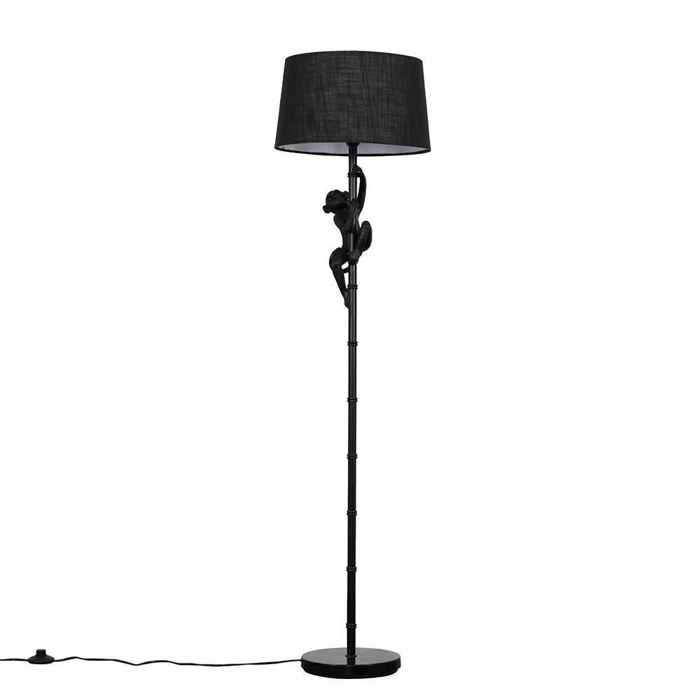 George Monkey Black Floor Lamp with Black Doretta Shade