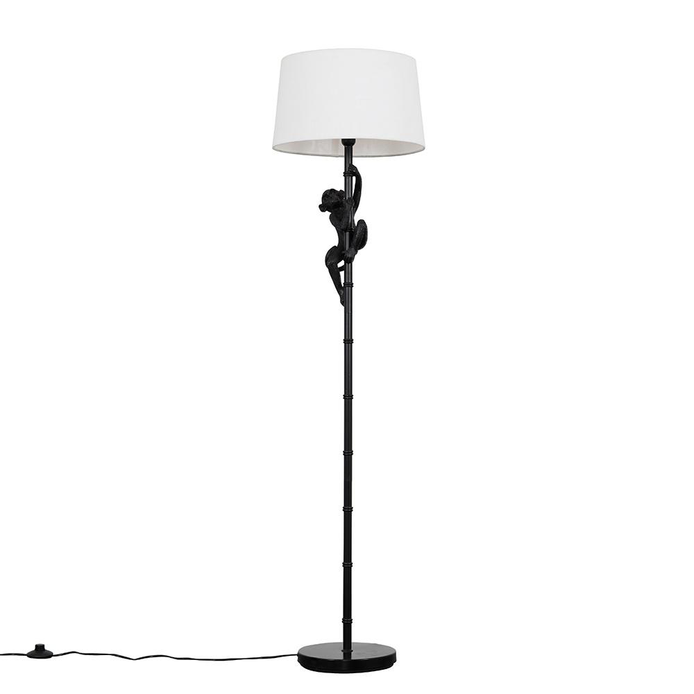 George Monkey Black Floor Lamp with White Doretta Shade