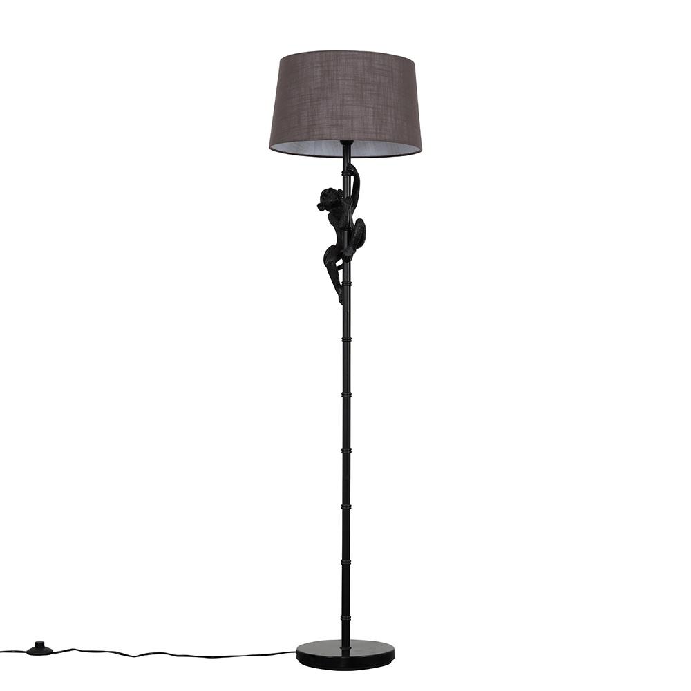 George Monkey Black Floor Lamp with Dark Grey Doretta Shade