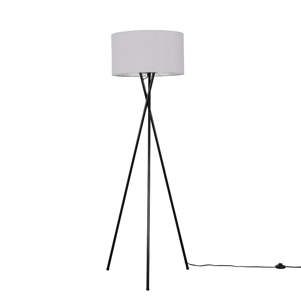 Camden Black Tripod Floor Lamp with XL Cool Grey Reni Shade