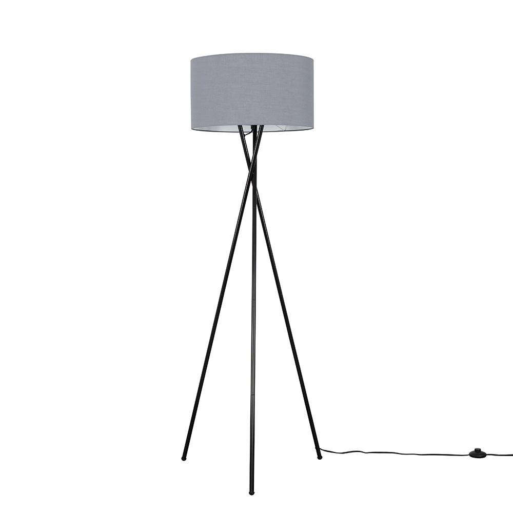 Camden Black Tripod Floor Lamp with XL Dark Grey Reni Shade