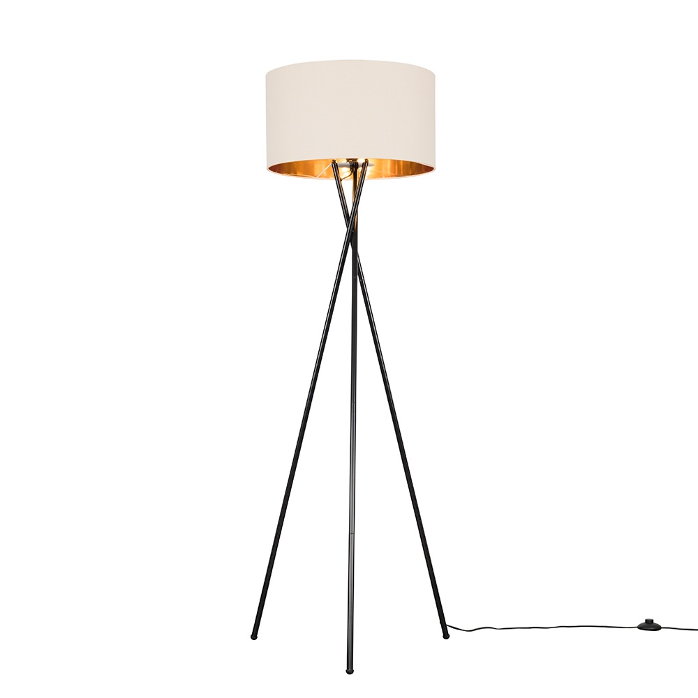 Camden Black Tripod Floor Lamp with XL Fawn and Gold Reni Shade