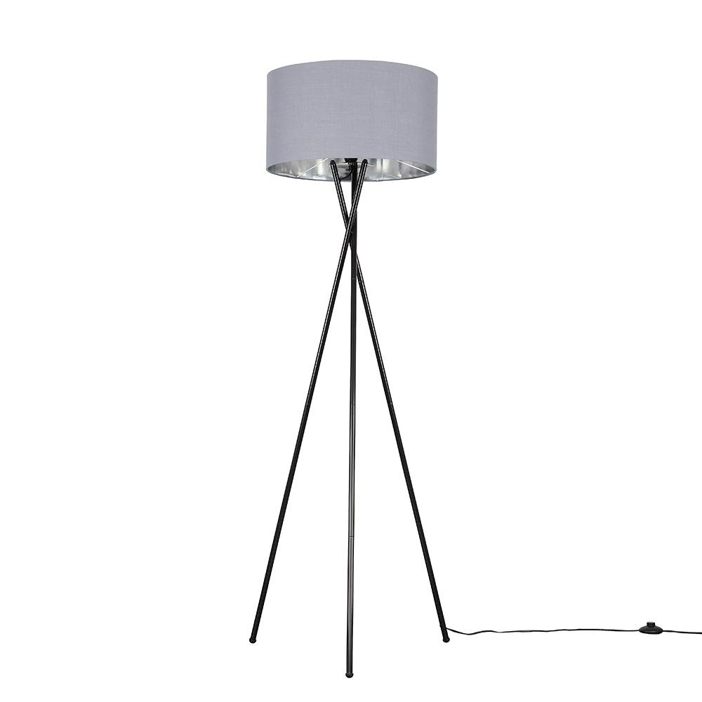 Camden Black Tripod Floor Lamp with XL Grey and Chrome Reni Shade