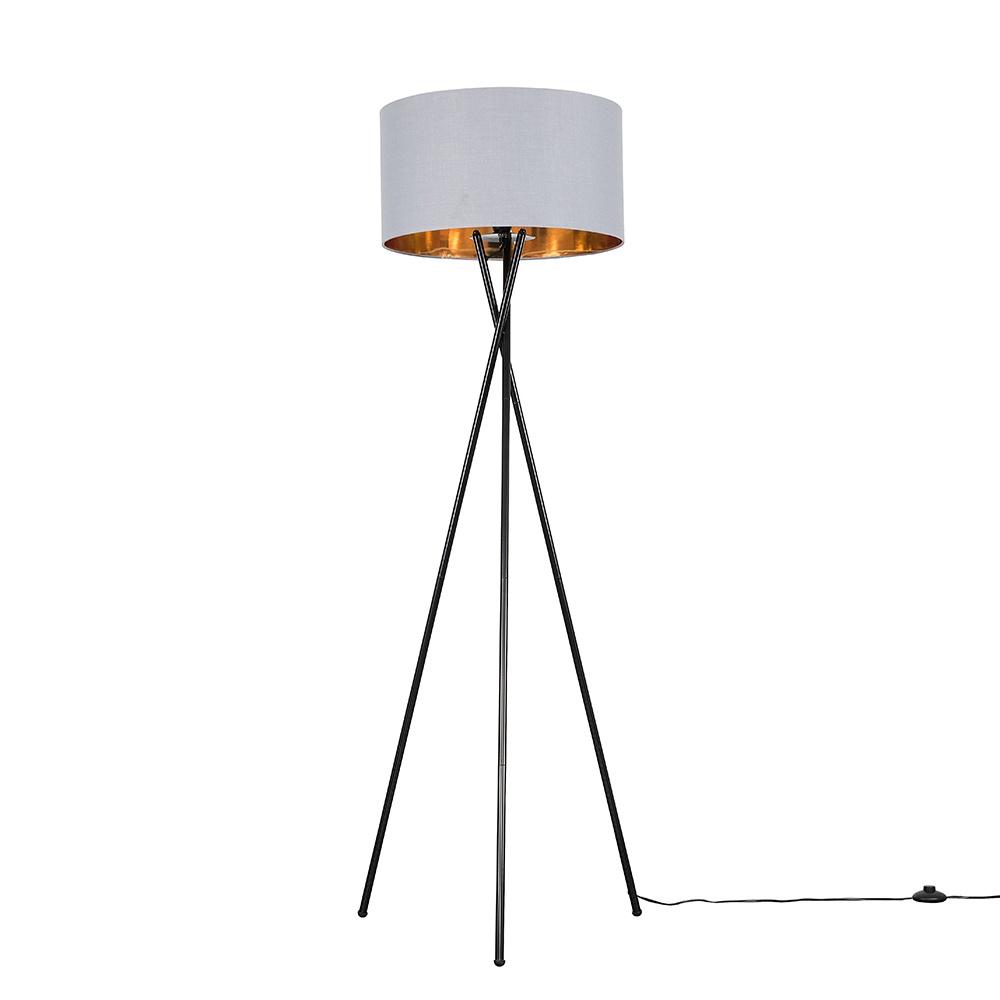 Camden Black Tripod Floor Lamp with XL Grey and Gold Reni Shade