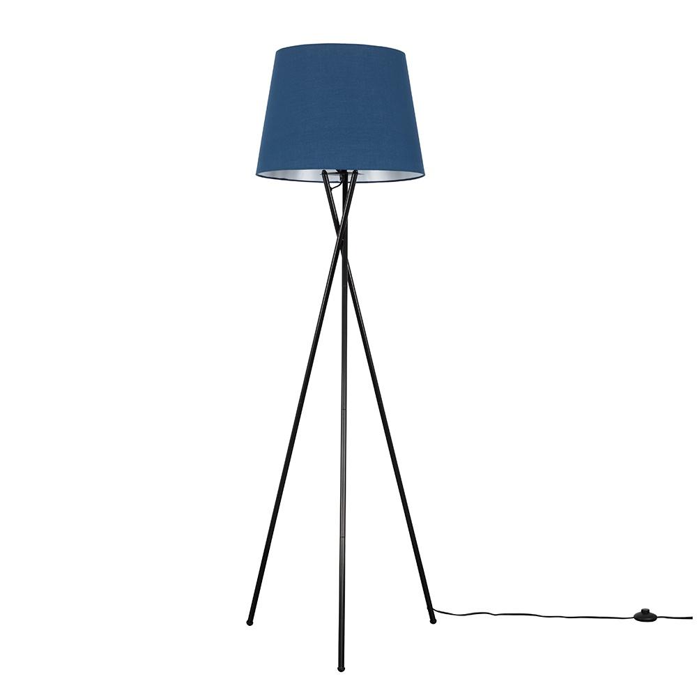 Camden Black Tripod Floor Lamp with XL Navy Blue Aspen Shade
