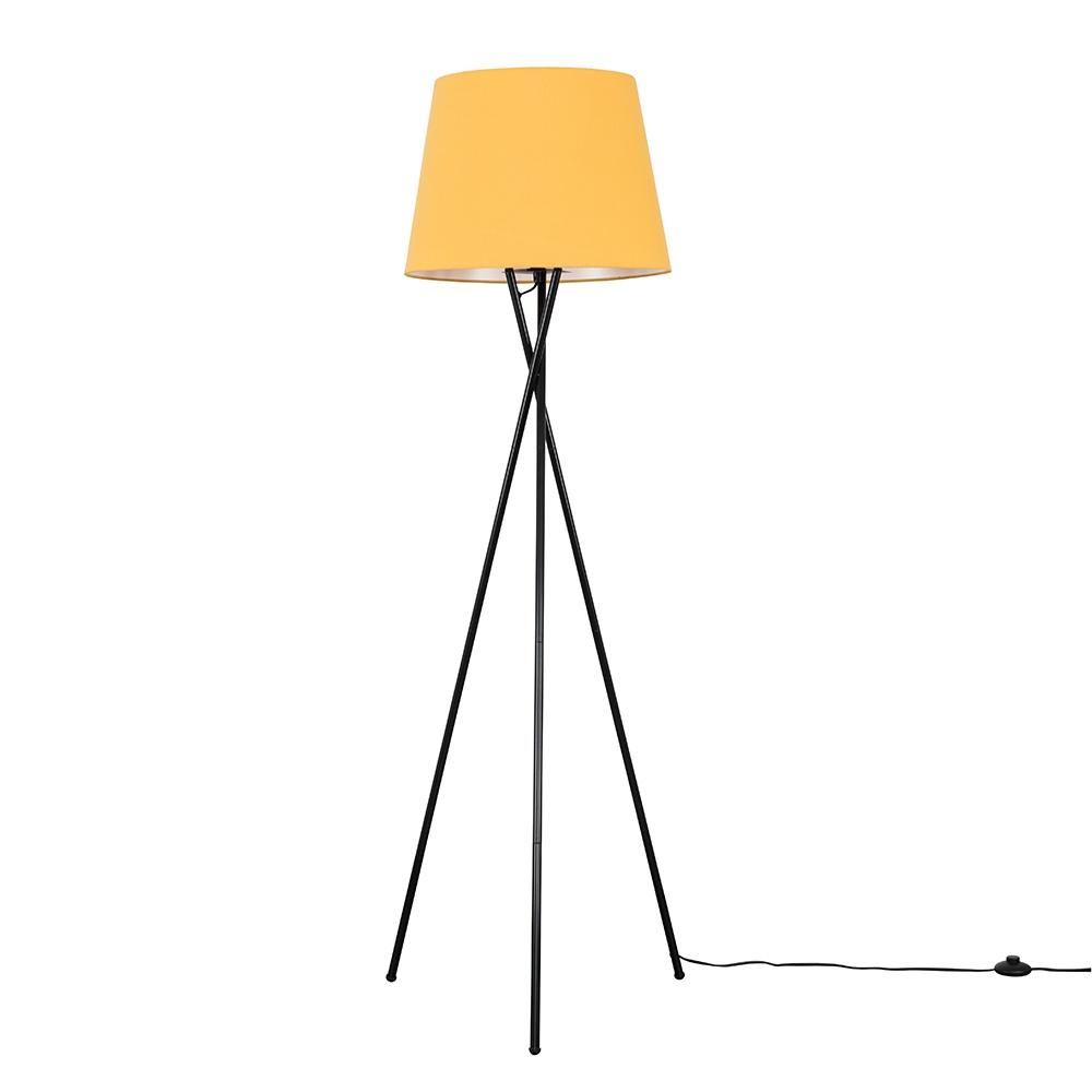 Camden Black Tripod Floor Lamp with XL Mustard Aspen Shade