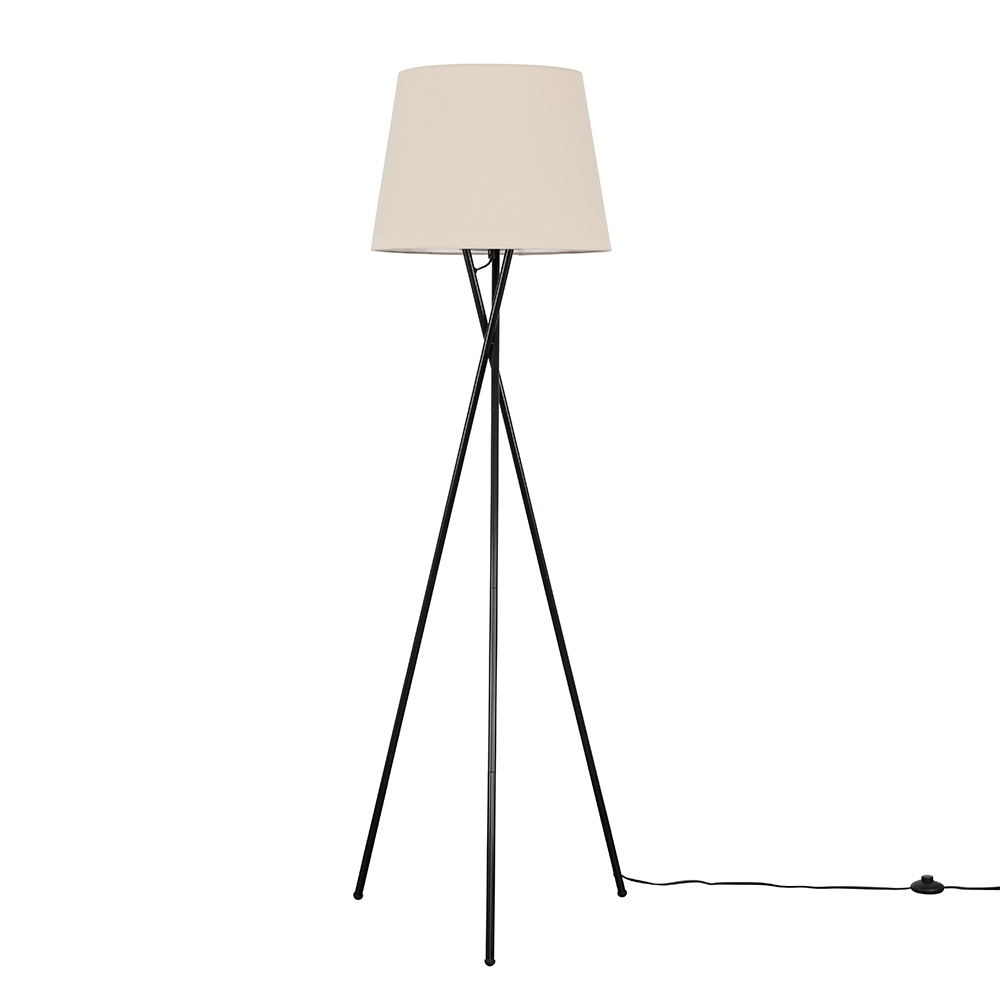 Camden Black Tripod Floor Lamp with XL Beige Aspen Shade