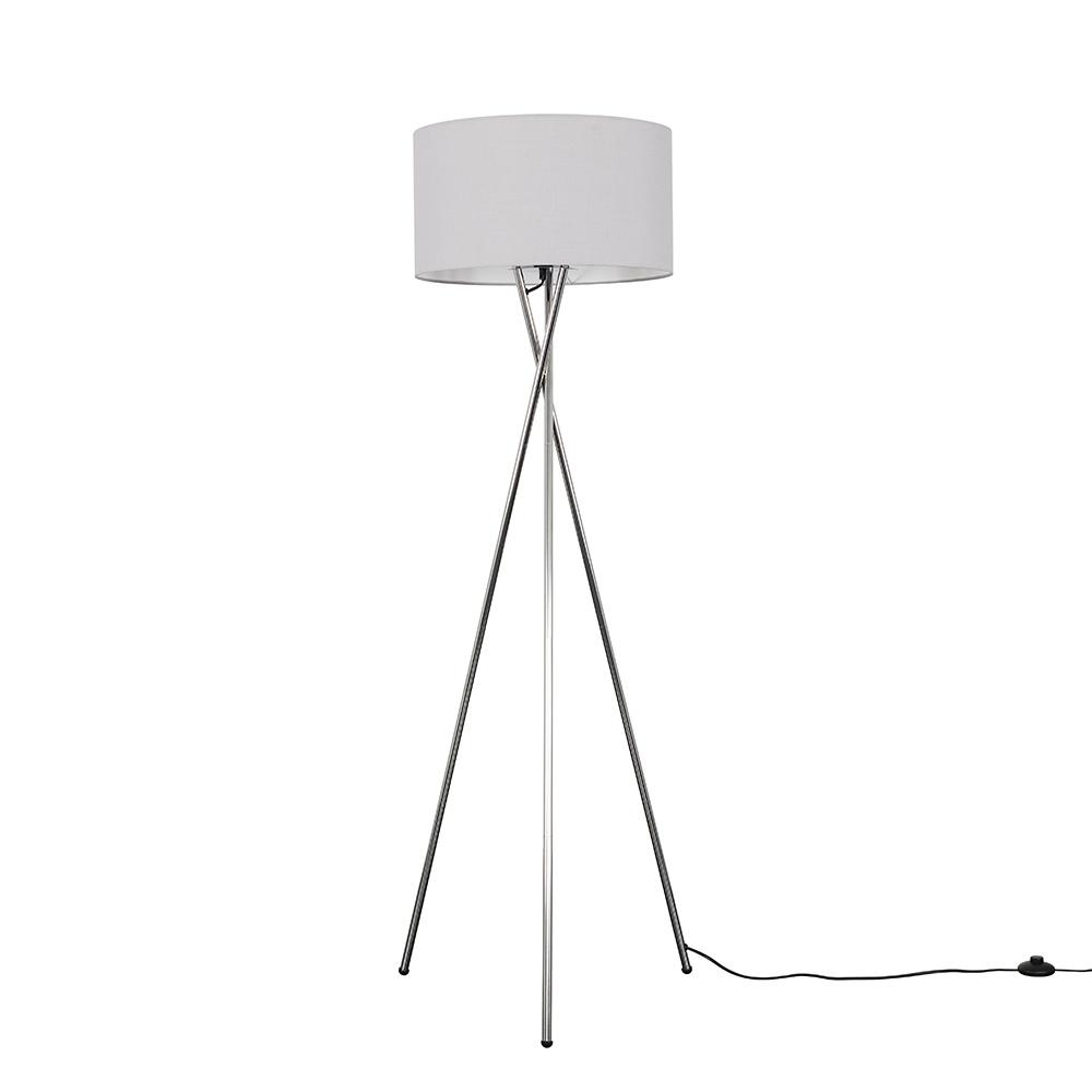 Camden Chrome Tripod Floor Lamp with XL Cool Grey Reni Shade