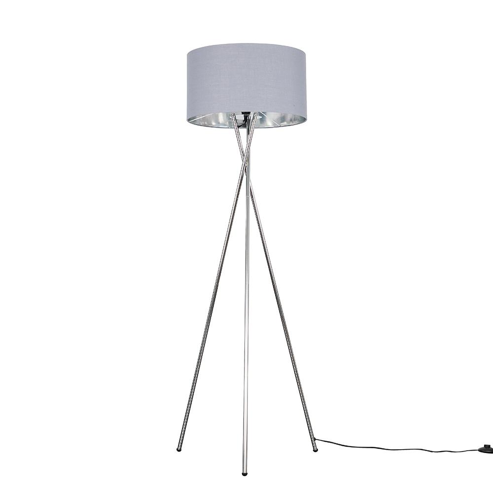 Camden Chrome Tripod Floor Lamp with XL Grey and Chrome Reni Shade