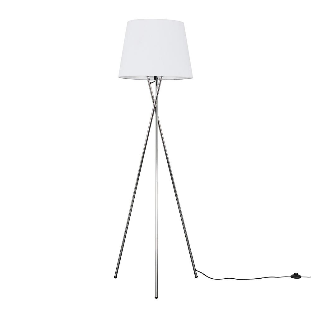 Camden Chrome Tripod Floor Lamp with XL White Aspen Shade