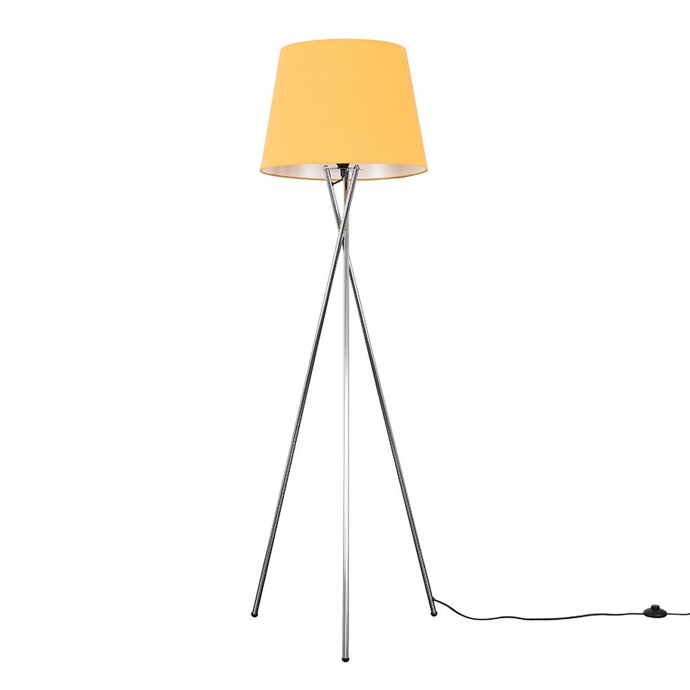 Camden Chrome Tripod Floor Lamp with XL Mustard Aspen Shade