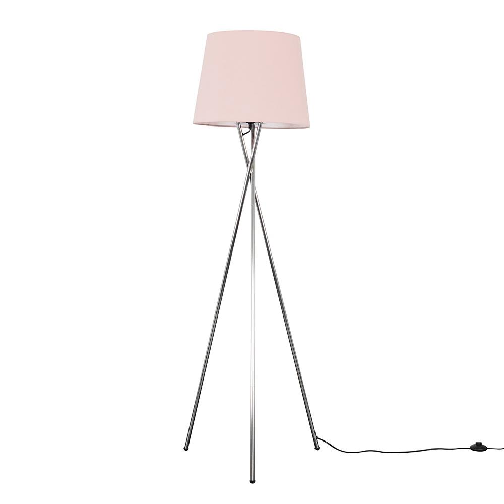 Camden Chrome Tripod Floor Lamp with XL Dusty Pink Aspen Shade