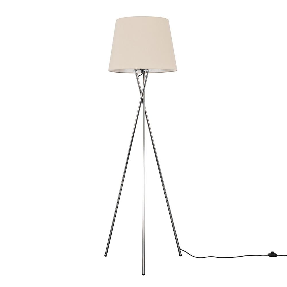 Camden Chrome Tripod Floor Lamp with XL Beige Aspen Shade