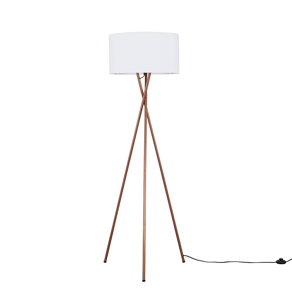 Camden Copper Tripod Floor Lamp with XL White Reni Shade