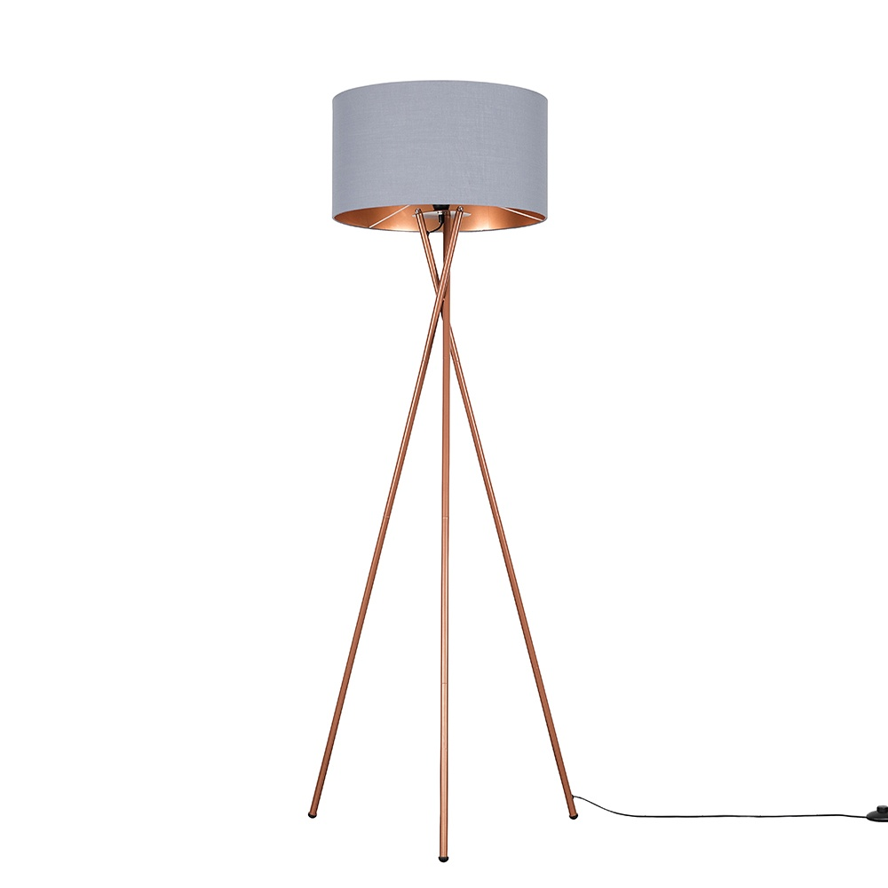 Camden Copper Tripod Floor Lamp with XL Grey and Copper Reni Shade
