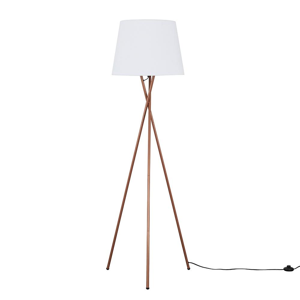 Camden Copper Tripod Floor Lamp with XL White Aspen Shade